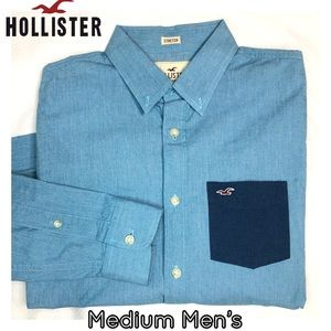 Hollister long sleeve button down blue men's top